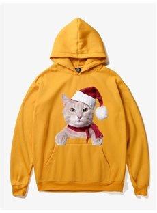 Christmas Loose Model Fleece Pullover 3D Painted Hoodie