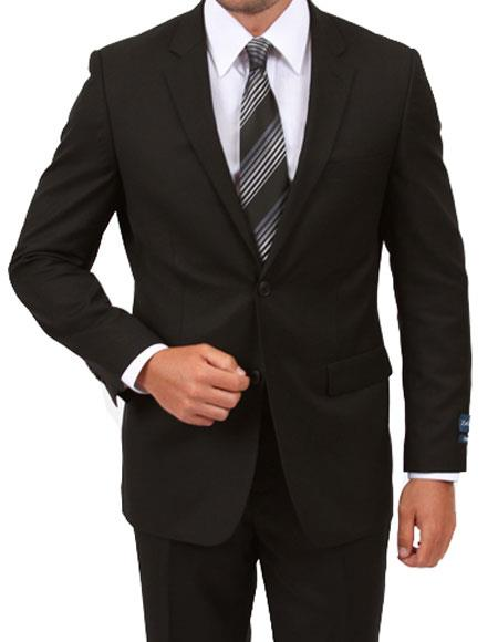 Men's Single Breasted Modern Fit Black Suit with Flat Front Pant