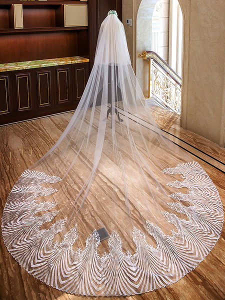 Milanoo Cathedral Wedding Veils Ivory Waterfall Lace Applique 2 Tier Long Bridal Veil