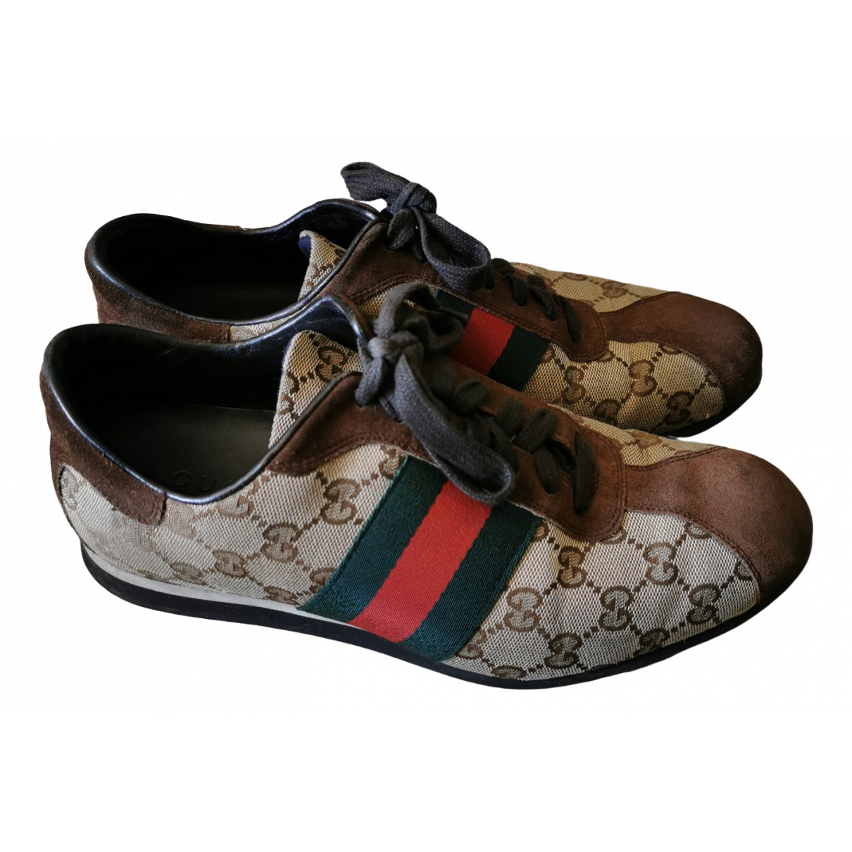 Gucci Ace Brown Cloth Trainers for Men 39.5 EU