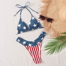 American Flag Print Triangle Tanga Bikini Swimsuit