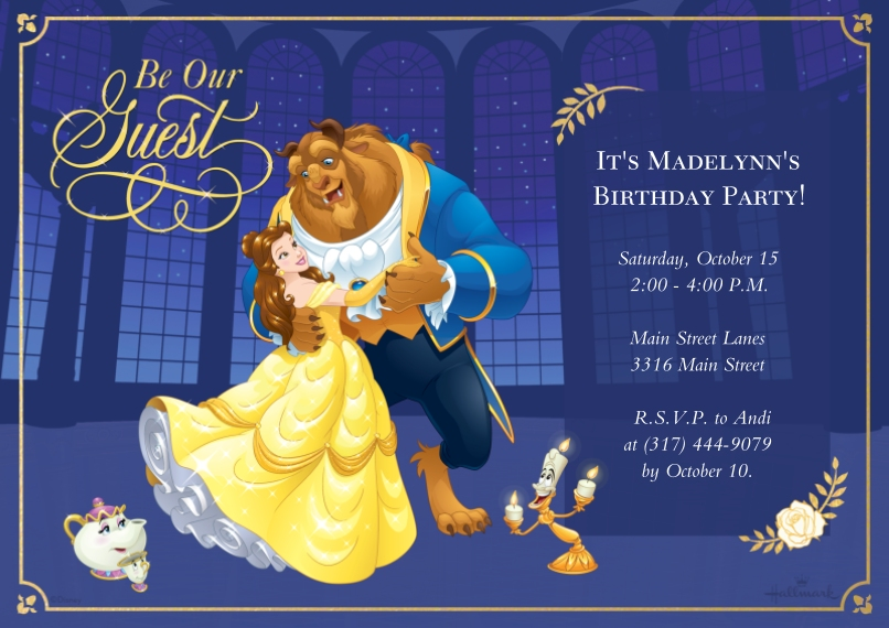 Kids Birthday Party Invites 5x7 Cards, Standard Cardstock 85lb, Card & Stationery -Be Our Guest - Beauty and the Beast