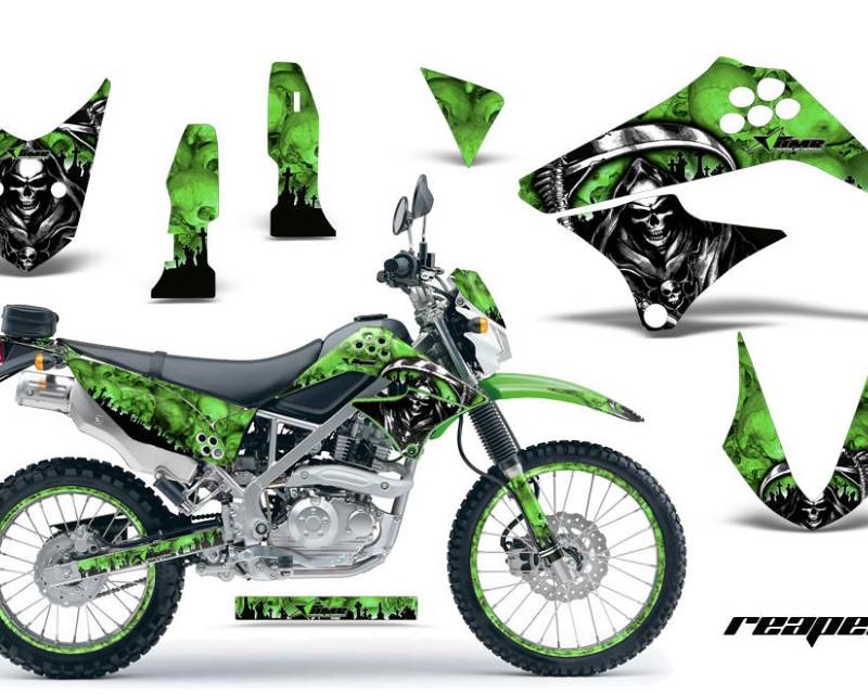 AMR Racing Graphics MX-NP-KAW-KLX125-10-16-RP G Kit Decal Sticker Wrap + # Plates For Kawasaki KLX125 2010-2016 REAPER GREEN