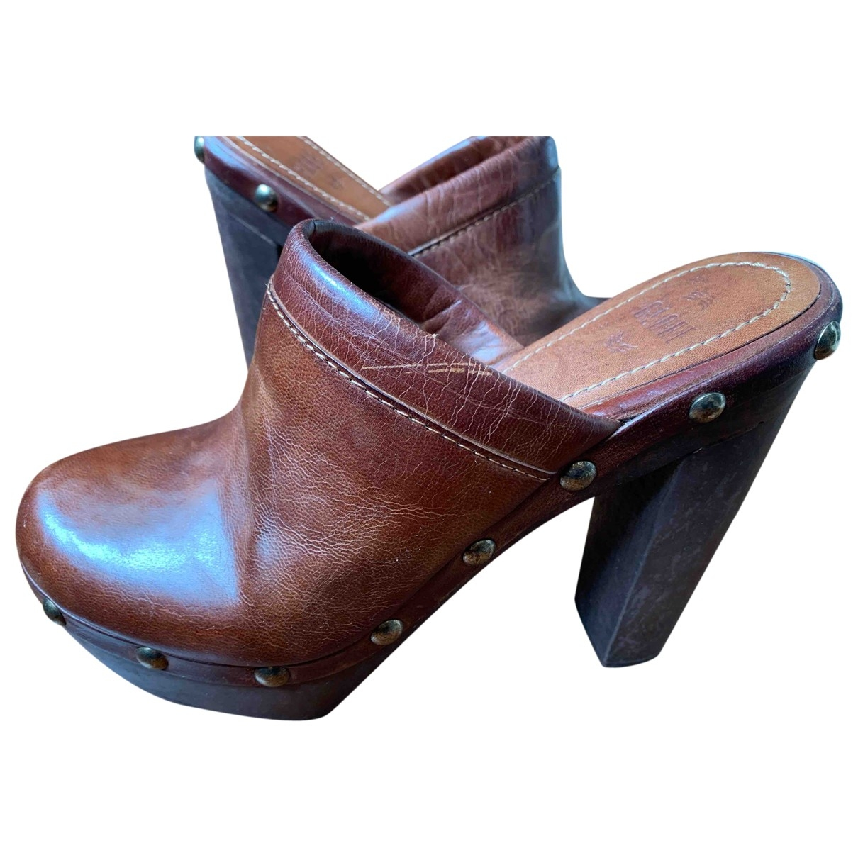 Non Signé / Unsigned \N Brown Leather Mules & Clogs for Women 36 EU