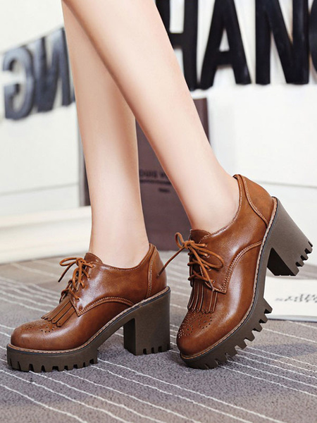 Milanoo Brown Oxford Shoes Classic Round Toe Lace Up Block Heel Oxfords