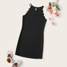 Girls Scallop Trim Halter Dress