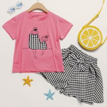 Toddler Girls Figure Graphic Embroidery Tee & Bow Gingham Shorts
