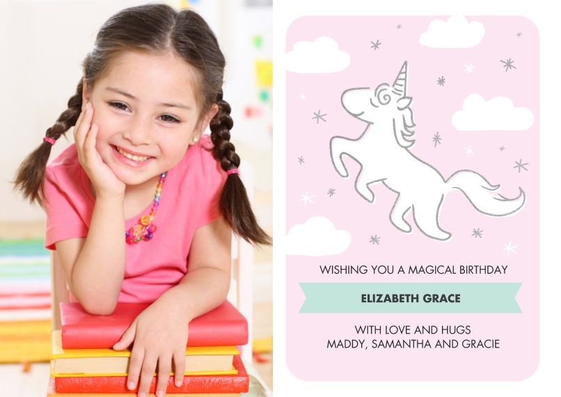 Kids Birthday Party 5x7 Cards, Premium Cardstock 120lb with Elegant Corners, Card & Stationery -Birthday Invite Unicorn