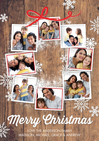 Christmas Photo Cards Flat Glossy Photo Paper Cards with Envelopes, 5x7, Card & Stationery -Christmas Snowflakes Photo Wreath