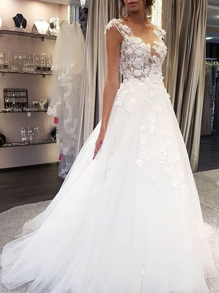 Milanoo Wedding Dress Jewel Neck Sleeveless Lace Flora A Line Tulle Bridal Gowns For Beach Wedding