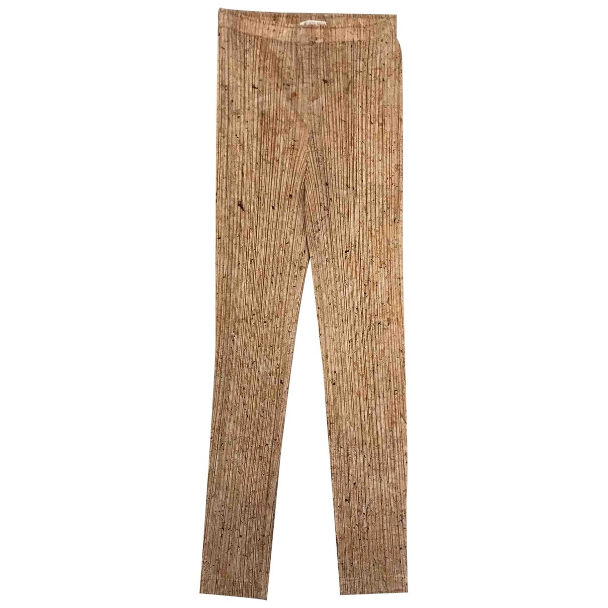 Pleats Please \N Beige Cotton Trousers for Women 2 0-5
