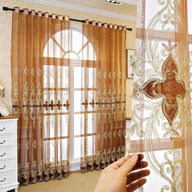Classic and Noble Embroidered Custom Living Room Sheer Curtains Breathable Voile Drapes No Pilling No Fading No off-lining