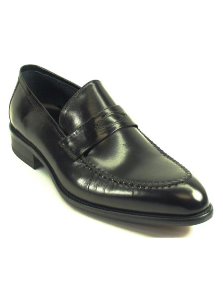 Carrucci Men's Genuine Moccasin Leather Black Slip On Shoes
