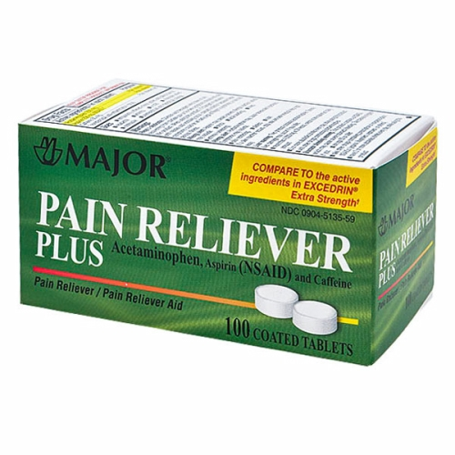 Pain Reliever Plus 100 Coated Tabs by Major Pharmaceuticals