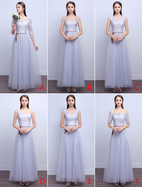 Milanoo Silver Bridesmaid Dresses Long Lace Tulle A Line Ankle Length Prom Dresses