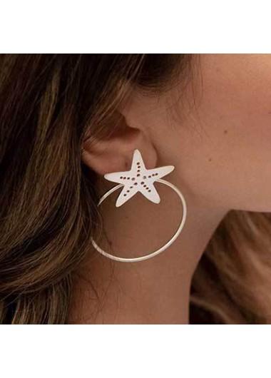 Mother's Day Gifts Metal Starfish Shape Detail Hoop Earring Set - One Size