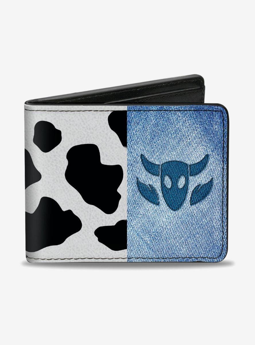 Disney Pixar Toy Story Woody Denim Cowboy Bull Icon Cow Print Bifold Wallet