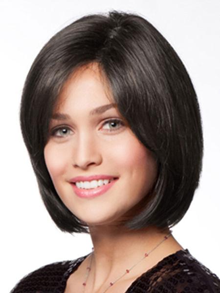 Milanoo Black Bob Wig Women's Side Parting Short Straight Human Hair Wig