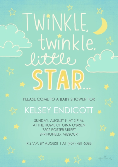 Baby Shower Invitations 5x7 Cards, Premium Cardstock 120lb with Elegant Corners, Card & Stationery -Twinkle, Twinkle, Little Star