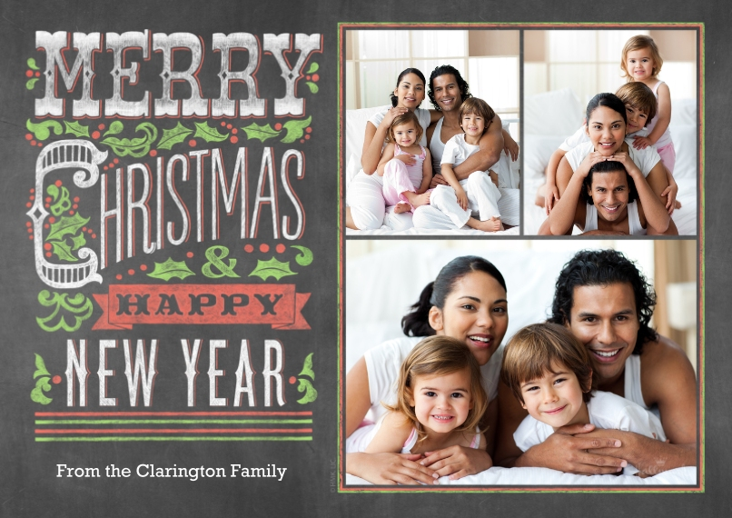 Christmas Photo Cards 5x7 Cards, Standard Cardstock 85lb, Card & Stationery -Festive Chalkboard