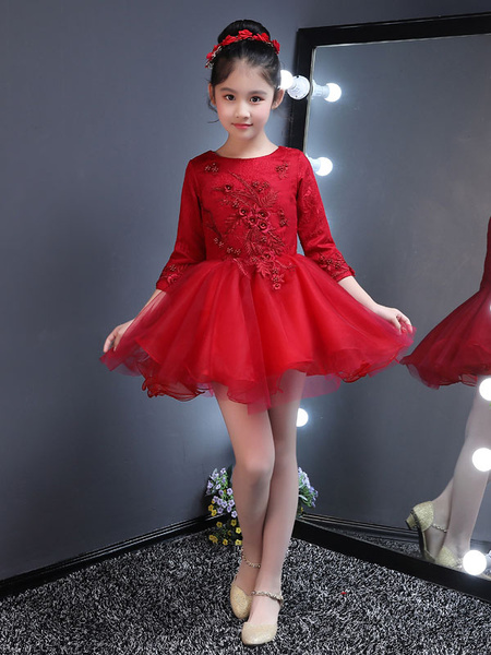 Milanoo Flower Girl Dresses Short Tutu Dress Burgundy Kids Long Sleeve Applique Mini Party Dresses For Little Girls