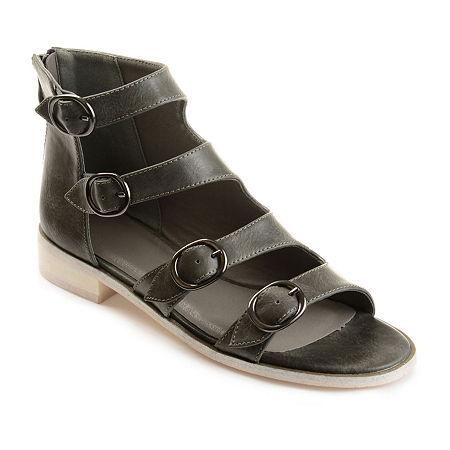 Journee Collection Womens Oakly Flat Sandal, 8 Medium, Gray