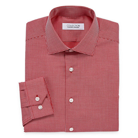 Collection by Michael Strahan Mens Spread Collar Long Sleeve Wrinkle Free Stretch Dress Shirt, 15.5 32-33, Red