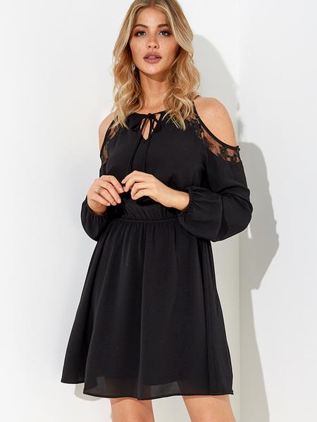 Yoins Black Lace-up Design Cold Shoulder Long Sleeves Lace Dress