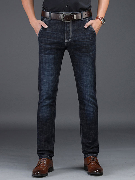 Milanoo Straight Leg Jeans Distressed Washed Deep Blue Denim Jean For Men