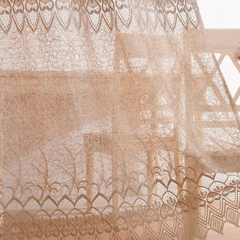 Classical Peacock Feather Embroidery Custom Sheer Curtains