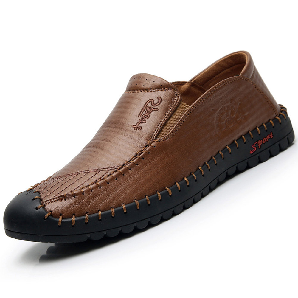 Men Microfiber Leather Stitching Soft Sole Flat Casual Shoes