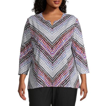Alfred Dunner Plus Classics-Womens Split Crew Neck 3/4 Sleeve T-Shirt, 3x , Pink