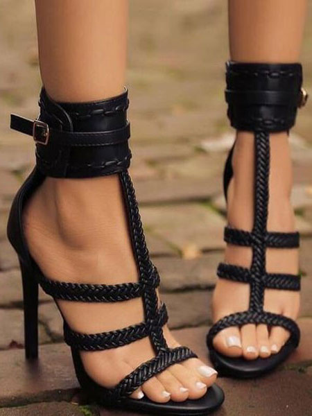 Milanoo High Heel Sandals Women Gladiator Sandals Brown Open Toe Ankle Strap Sandal Shoes
