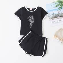 Baby Boy Dragon Contrast Trim Tee With Track Shorts
