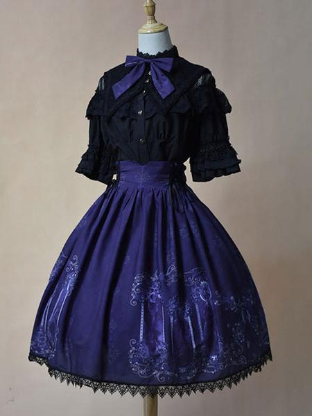 Milanoo Classic Lolita Sk Skirt Neverland Nightmare Magic Spell Pleated Skirt Original Design