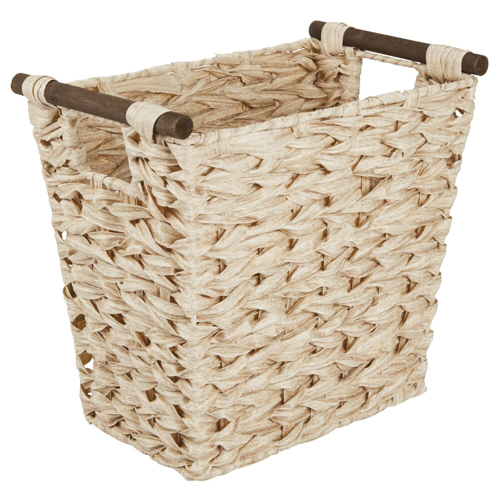 Small Woven Trash Can Waste Basket Bin in Natural, 13.5 x 8.25 x 12, by mDesign
