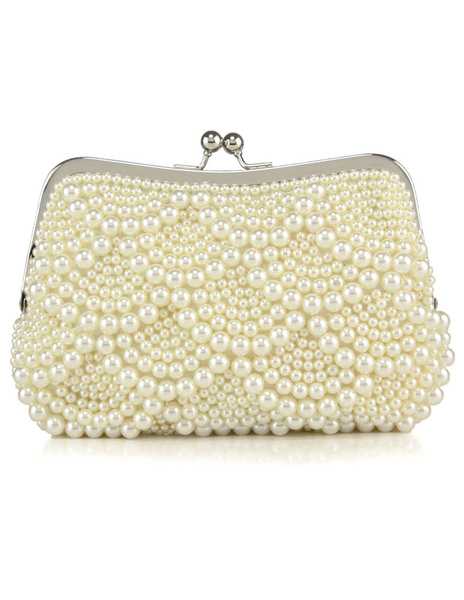 Milanoo Pearls Wedding Bags Ivory Kiss Lock Purse Beaded Evening Clutch Bag