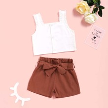 Baby Girl Frill Trim Top & Paperbag Waist Belted Shorts