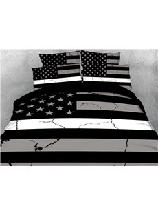 Black And White Simple Style The American National Flag Reactive Print Polyester 3D Duvet Cover Bedding Sets 4 Pieces