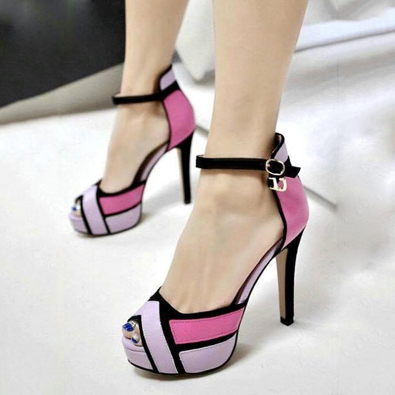Ericdress Chic Contrast Color Peep Toe Stiletto Sandals
