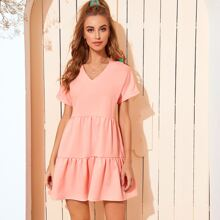 V-neck Ruffle Hem Babydoll Dress