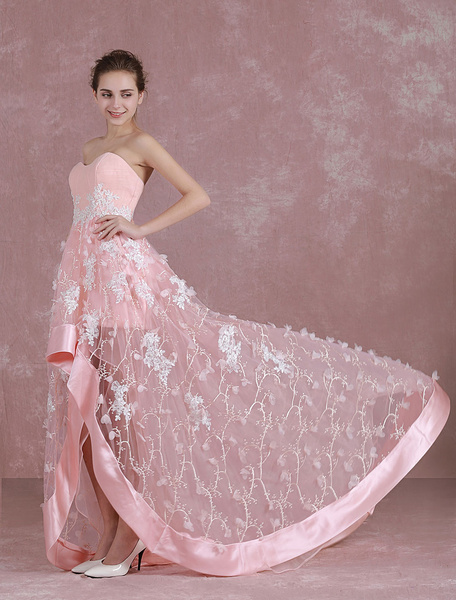 Milanoo Pink Prom Dresses 2020 Long Homecoming Dress Sweetheart Strapless Flower High Low Graduation Dress With Train