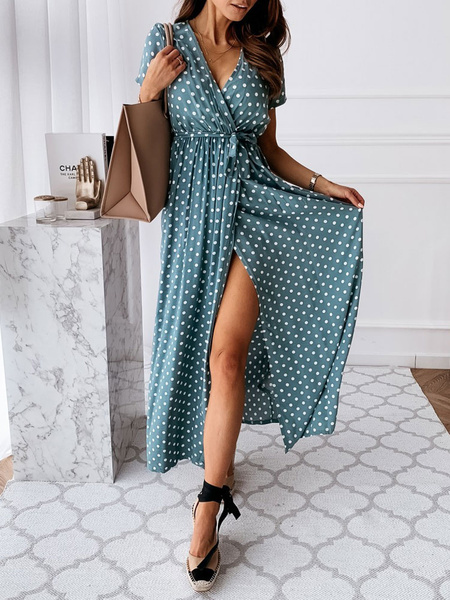 Milanoo Boho Dress V-Neck Short Sleeves Polyester Summer Beach Dress