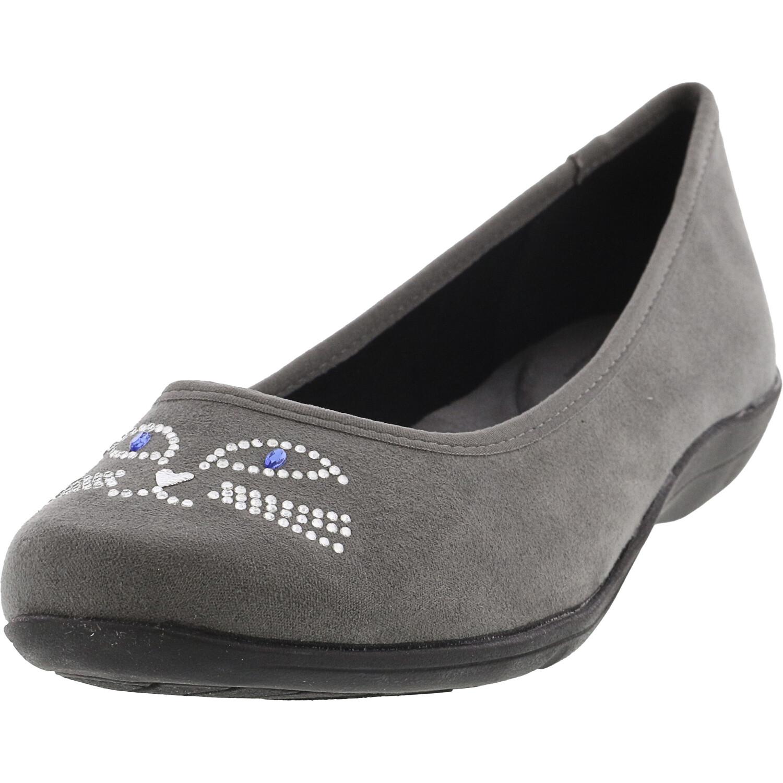 Soft Style Women's Kittycat Dark Grey Ankle-High Fabric Ballet - 6M