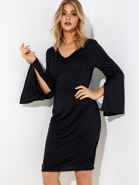 Yoins Black Plain V-neck Slit Design Bell Sleeves Party Dresses