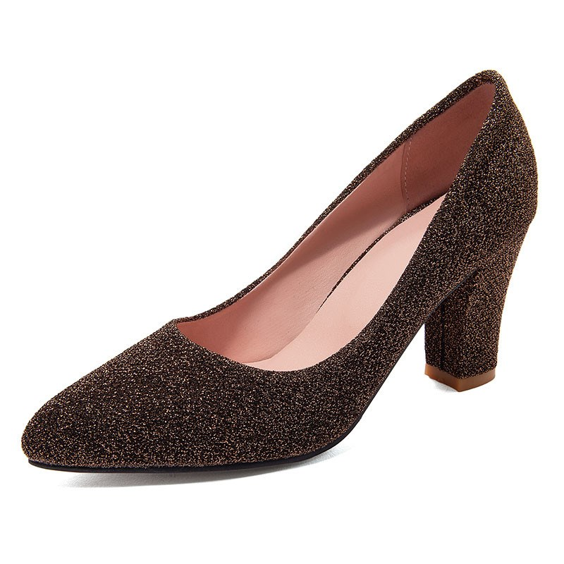 Ericdress Slip-On Pointed Toe Lurex 7cm Thin Shoes