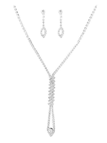 Milanoo Wedding Jewelry Set Silver Rhinestones Pierced Earrings With Necklace