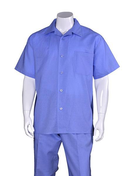 Men's Plain Short Sleeve Blue Linen Casual Walking Suit Pleated Pant