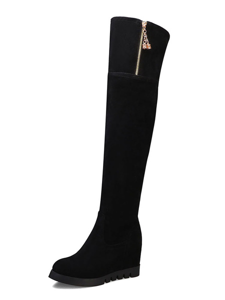 Milanoo Over The Knee Boots Womens Micro Suede Round Toe Wedge Heel Winter Boots