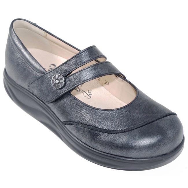 Finn Comfort Sacramento Nerosilver Leather Soft Footbed 85 Uk